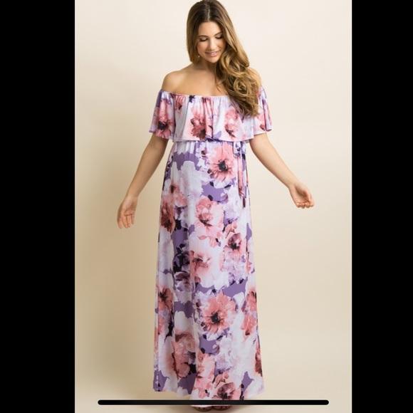4ed5db58914 Lavender Floral Ruffle Sash Tie Maxi Maternity Dre.  M 5c0e8173c9bf50476c91a998